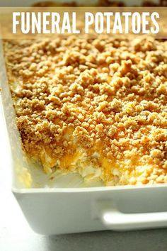 This potato casserole, or known as funeral potatoes in some areas, is total comfort food. It's a cheesy potato casserole and made from shredded potatoes, cheese, and sour cream. It's loaded with flavor and is one of the best potato casserole recipes. Hashbrown Casserole Recipe, Cheesy Potato Casserole, Potatoe Casserole Recipes, Noodle Casserole, Cowboy Casserole, Potato Casserole Hash Brown, Shredded Potato Casserole, Shredded Hashbrown Recipes, Corn Flakes