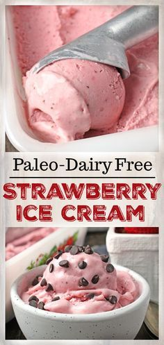 Paleo Strawberry Ice Cream- so easy to make and only 5 ingredients! Gluten free, dairy free, and naturally sweetened. A healthy summer dessert.