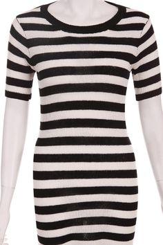 Black-white Stripes Dress #Romwe