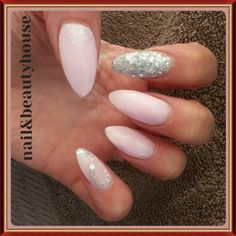 Baby pink & glitter accent finger stilleto & coffin shape acrylics