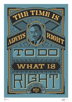 Inspirational quotes: Martin Luther King 'Time is right' poster – www.posterama.co