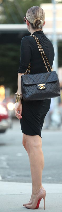 Chic In The City- Helmut Lang Black Jersey Twisted Long Sleeve Dress by Brooklyn Blonde...LadyLuxury