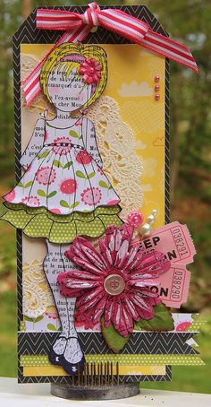 Tag using Julie Nutting's Mixed Media Doll Stamp