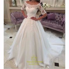 vampal.co.uk Offers High Quality Ivory Off The Shoulder Lace Sleeve Embellished Ball Gown Wedding Dress ,Priced At Only USD $211.00 (Free Shipping)