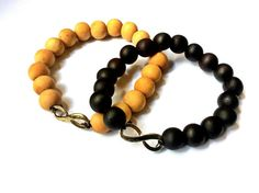 wood beads stretch bracelet with infinity charm, Mala prayer beads, boho jewelry by VintageHomage