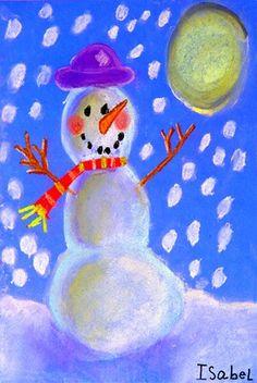 Vv (kresba křídovým pastelem): Snowman at Night Canvas Art Projects, Winter Art Projects, Winter Crafts For Kids, Art For Kids, Classroom Art Projects, Art Classroom, Snowmen At Night, Kindergarten Art, Art Lessons Elementary