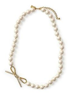 Kate Spade New York Skinny Mini Bow Pearl Necklace