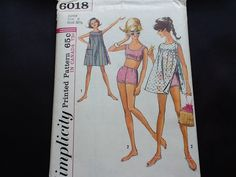 Simplicity pattern 6018. Vintage uncut 1965 girl teen junior sleeveless dress with side and shoulder button closing and two piece swim suit. by Stitchandzip on Etsy