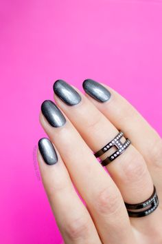 Gunmetal nails & gunmetal rings. By #SoNailicious. #notd #nails