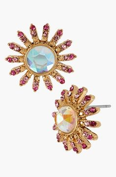 Betsey Johnson 'Paris' Crystal Flower Stud Earrings available at #Nordstrom