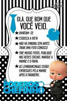 José Miguel 1 ano Baby Birthday Themes, Boss Birthday, Drakes Bday, Boss Baby, Baby Party, Create A Logo, Mom And Baby, Baby Shower, Lucca