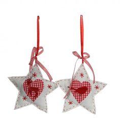 Set of 2 White Star Tree Ornaments