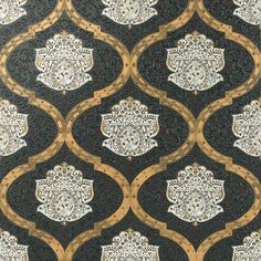 Distingushed decorative piece based on the designs of Persian carpets in ochre, black and gold matching the Cenefa Persépolis border and the Taco Persépolis Bathroom Floor Tiles, Tile Floor, Dune, Moroccan Style, Travertine, Persian Carpet, Tile Design, Decoration, Damask