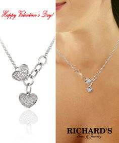 Two hearts diamond necklace in 14k white gold