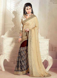 Ethnic NX Genius Jacquard Brown and Beige Designer Half N Half saree | Whats Up No. +918238311448  | http://www.ethnicnx.com/sarees/genius-jacquard-brown-and-beige-designer-half-n-half-saree-8147