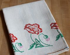 Hand Embroidered Linen Towel With Plaid Border, Poppies and Pansies