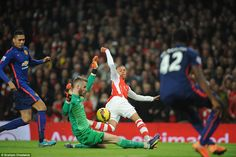David de Gea (centre) had an excellent performance in goal for the Red Devils denying seve...
