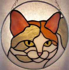 glas suncatcher patterns | Calico Cat Stained Glass Suncatcher Pattern