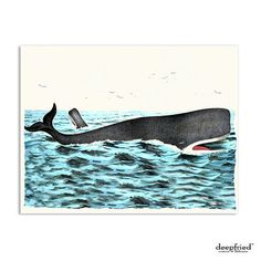 Whale Card A2 Size Blank Inside Eco Friendly by deepfried on Etsy, $4.00