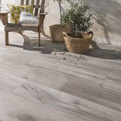 Carrelage sol gris effet bois Heritage l.20 x L.80 cm   Leroy Merlin Garden Deco, Big Houses, Home Remodeling, Tile Floor, Pergola, Sweet Home, Flooring, Exterior, Outdoor Decor
