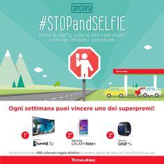 Parte oggi il concorso #STOPandSELFIE di TotalErg. Naturalmente l'ideazione è made in Adacto! Fatevi sotto coi selfie: in palio ogni settimana superpremi Samsung.