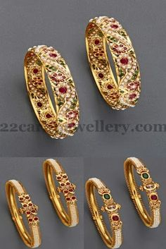 Jewellery Designs: Jugni Pearls Bangles Gallery= would also make a great design for a wedding band I think! Kids Gold Jewellery, Gold Jewellery Design, India Jewelry, Gold Jewelry, Jewlery, Handmade Jewellery, Silver Bracelets, Bangle Bracelets, Bangle Set