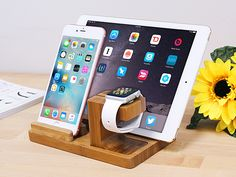 3-in-1 Bamboo Stand.  Stand for Apple Watch, iPhone and iPad (except iPad Pro) at the same time. Made of natural #bamboo . Simple, beautiful and generous.