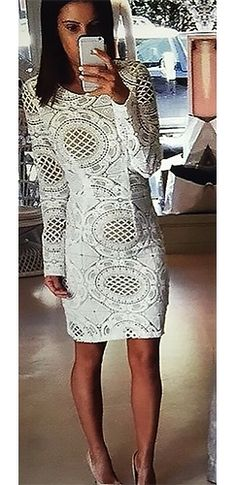 e4abfead68d9 Dressed To Thrill White Geometric Lace Long Sleeve Boat Neck Open Back  Bodycon Midi Dress