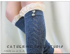 Blue  knit lace leg warmers w cluny lace 2 tortoise buttons womens chevron  knit pattern  great with all boots by Catherine Cole Studio. $24.90, via Etsy.