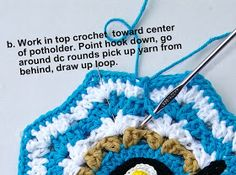 Delights-Gems: crochet rose ripple potholder potholder pot holder how to pattern ripple cotton Easy Granny Square, Granny Square Crochet Pattern, Crochet Motif, Crochet Flowers, Crochet Stitches, Knit Crochet, Crochet Hats, Potholder Patterns, Tricot