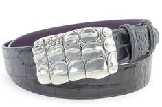 Lava Grey mock croc caiman belt, £154.50
