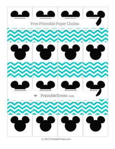 Free Robin Egg Blue Chevron  Mickey Mouse Paper Chains