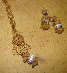 Stunning Vintage Miriam Haskell Signed Crystal Necklace and Earrings
