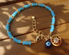 Gold Sun Charm Turquoise Beaded Bracelet Evil Eye by cocolocca