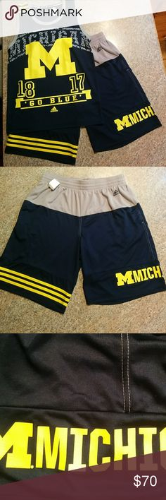 """Matching Adidas Michigan Tank and Shorts Adidas Climalite Michigan matching Tank and Shorts . Size on tank is M and Shorts are a Large...Tank is in 10/10 condition and Shorts are 9/10 due to tiny pull over Michigan as pictured. Quotes """"1872 Go Blue"""" on Tank. Dope looking set and is nearly impossible to find.  Length of shorts is 20.5 inches, Length of Tank is 27.5 and from the BOTTOM of the armpit the other is 19 inches adidas Other"""