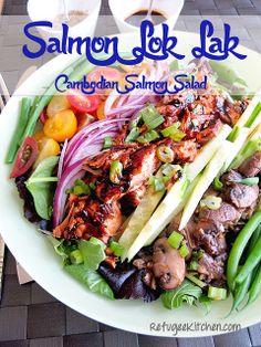 Redux: Salmon Lok Lak - #Cambodian Salmon Salad  A different take on the traditional #Khmer Lok Lak