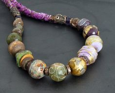 artisan lampwork and ceramic beads necklace with by