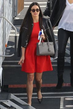 Showing support: Demi looked stylish for the finale episode, wearing a red mini dress and leather jacket