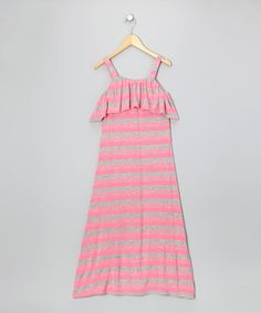 Take a look at this Gray & Neon Pink Stripe Maxi Dress - Girls by Btween on #zulily today!