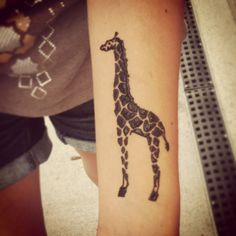 My Giraffe Henna tattoo on wrist...I love it! #tattoo #giraffe #henna