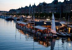 Stockholm, Sweden. Restaurants on water.. Beautiful!