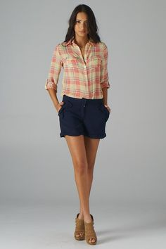 Plaid Chiffon Shirt (Pink) - Lavishville  Will require more running.