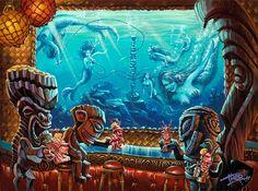 Thor Thomas Darson Hookah Lau Bubble Bar Tiki Print 14 x 11 New Half Off Price Tiki Art, Tiki Tiki, Mahalo Hawaii, Tiki Faces, Tiki Head, Hawaiian Art, Hawaiian Decor, Tiki Bar Decor, Tiki Totem