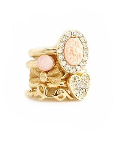Cameo Love Stackable Ring Set: Charlotte Russe  elfsacks