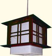 8H. Pacific Asian Hanging Lamp with a Dark Wood Frame and Natural Warlon Rice Paper Shade In line on /off switch