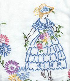 Hand Embroidered Crinoline Lady Tablecloth 26`x 26`` | eBay