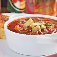 Substitute chicken for pork in this dish, if you prefer. Pink beans are similar to pinto beans, but smaller; if you can't find pink beans, substitute pintos. Add cheddar corn bread and orange slices to round out the meal.