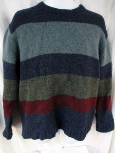Mens AMERICAN EAGLE OUTFITTERS Knit Sweater Wool Stripe GRAY BLUE GREEN RED L