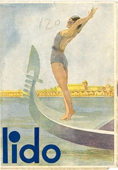 """Front cover a travel brochure for Venice Lido, 1934. Published by the City of Venice. Signed """"Tanozzi,"""" designed by """"Tridentum - Trento,"""" published by """"Soc. Acc. Stamperia Zanetti - Venice."""""""