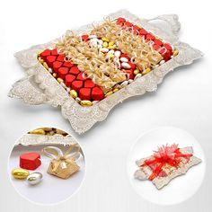 Çikolata :: Söz-Nişan Çikolataları ve Tepsileri :: Telkari Tepside Kalp ve Tektaş Çikolata + Draje